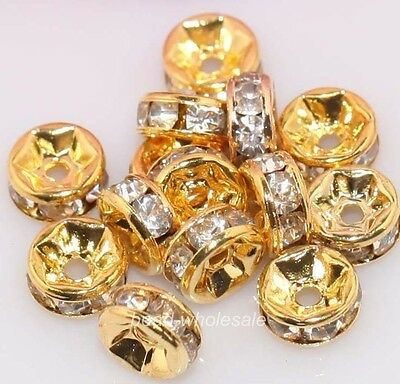 100x Shiny Golden Clear Crystal Rhinestone Charms Rondelle Spacer Beads 6mm BY