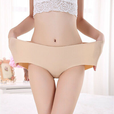 6 Colors Women Plus Size Seamless Ice Silk Ultra Thin Briefs Panties Underwear