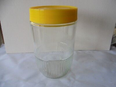 Retro Vintage Large Pablo Yellow Lid Glass Coffee Jar