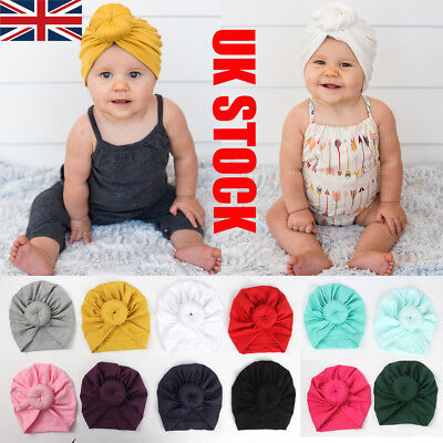 UK STOCK Kids Baby Girl Turban Flower Head Wrap Adjustable India Hat Cotton Cap