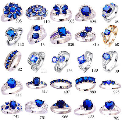 Blue Sapphire White Topaz Gemstone Silver Wedding Ring Engagement Jewelry Gifts