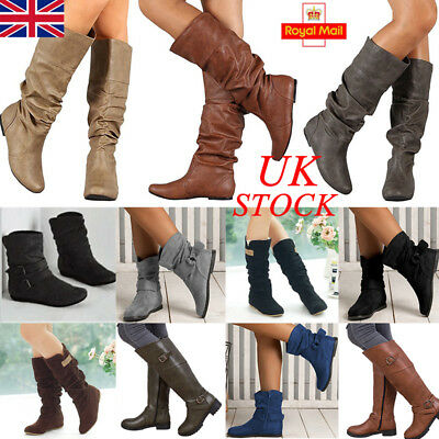 UK Womens Winter Leather Flat Knee High Boots Ladies Biker Mid Calf Shoes Size