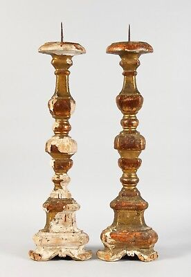 A Pair Of 18th Century Italian Carved Pricket Candleholder Altar Giltwood