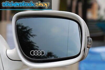 Audi Rings Logo Etched Glass Effect Car Wing Mirror Decal Stickers x2