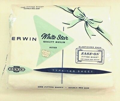 Vintage NOS DOUBLE Fitted BED SHEET ERWIN White Star Sealed Package!