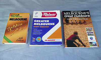 MELBOURNE Vintage Street Directory Gregorys 1986 Melway 1995 + Great Outdoors