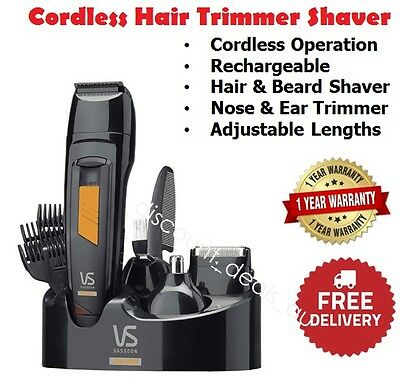 Beard Shaver Hair Clipper Trimmer Mens Grooming Set Cordless Electric VS SASSOON
