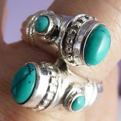 QUAD Gemstone Ring Size US 8.25 SILVERSARI Solid 925 Sterling Silver TURQUOISE