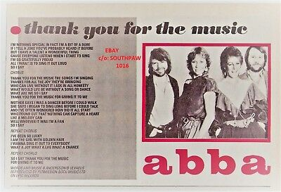 """1983 Abba """"Thank You For The Music"""" Song/Lyric Print Advertisement"""