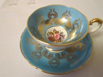 Aynsley Artist Signed Cup & Saucer Blue /green Cabinet Cup &saucer 1543