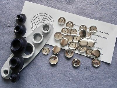 SELF COVER  BUTTONS and OPTIONAL TOOL for sizes:- 11mm, 15mm, 19mm, 23mm, 29mm.