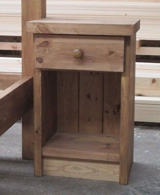 Pair - Handmade Rustic Solid Pine Bedside Tables (1 shelf / 1 drawer / 3 drawer)