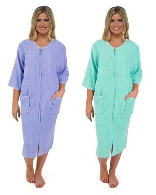 WOMENS TERRY TOWELLING Zip / Button Through Dressing Gown Bath Robe ...
