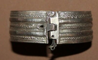 Antique Greek Folk Hand Made Silver Hinged Bracelet