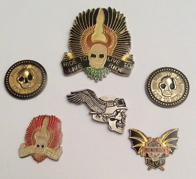 Lot 6 Pin's Moto MotorBike Bikers Ride To Live , Live to Ride