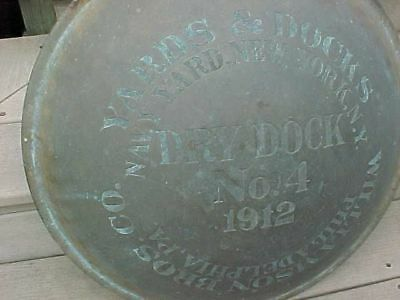 Pre Wwi 1912 New York Navy Yard Large Circular Brass Sign ? Dry Dock #4