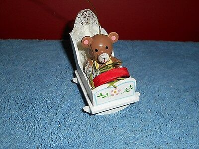 Wood Teddy Bear Christmas Tree Ornament Bear In A Crib Hand Painted Miniature