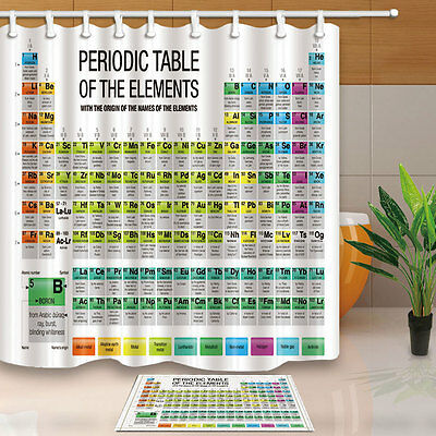 Periodic Table of the Elements Shower Curtain Bedroom Waterproof & 12hooks hot