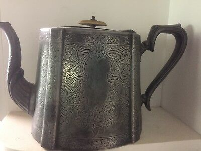 Antique J H Potter Teapot Silverplate Sheffield
