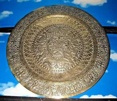 Large Indian? Embossed Brass Charger / Tray