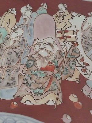 """ANTIQUE large JAPANESE 18"""" POTTERY CHARGER with immortals wise men decoration"""