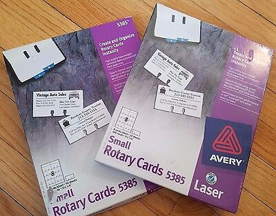 NEW AVERY 5385 LASER PRINTER SMALL ROTARY CARDS ROLODEX 2 Boxes 1 Sealed