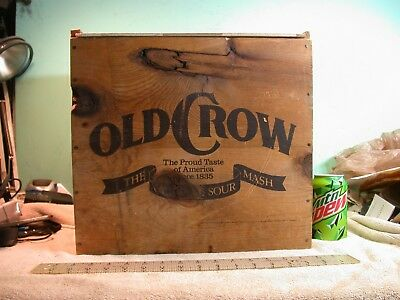 "Vintage Wooden Old Crow Whiskey Box Crate Sour Mash 14 1/2"" X 15 1/4"" X 11 1/2"""
