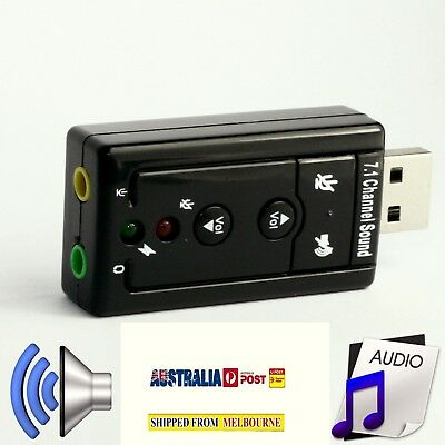 AU USB Audio Sound Card Adapter External 3D VIRTUAL 7.1CHANNEL For PC LAPTOP WIN