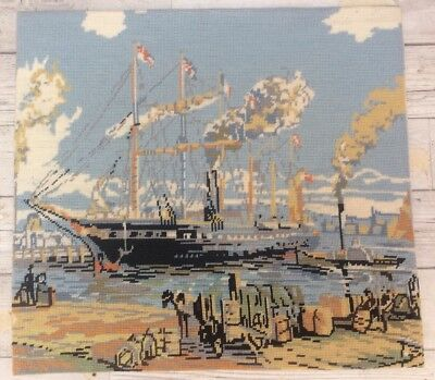 Vtg Completed Tapestry Needlepoint S.S Great Britain Valerie Green Designs Boat