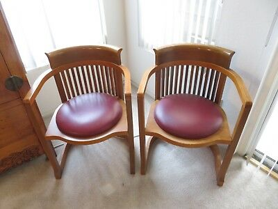 Two Vintage Matching Frank Lloyd Wright Barrel Chairs
