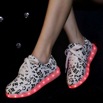 Unisex LED Light Lace Up Luminous Sportswear Sneaker Luminous Casual Shoes fc