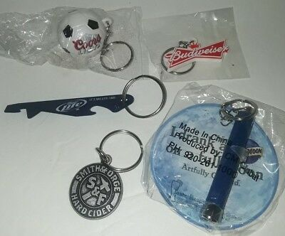 5pc Beer KEYCHAIN Flashlight, Opener Budweiser, Blue Moon, Coors, Miller, Smith