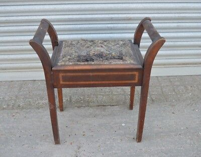 Edwardian Piano Stool With Lift-Up Seat - Great Upholstery/restoration Project