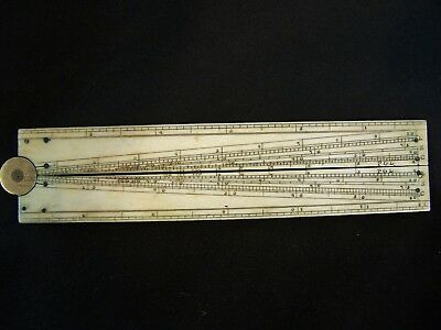Antiqu White Ship Navigation Drafting Scientific Instrument Rule Sector Compass