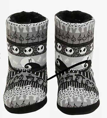 Nightmare Before Christmas Fair Isle Slipper Boots Size Large New