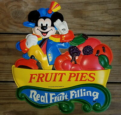 Mickey Mouse Continental Baking Company Fruit Pie Plastic Advertising Cutout