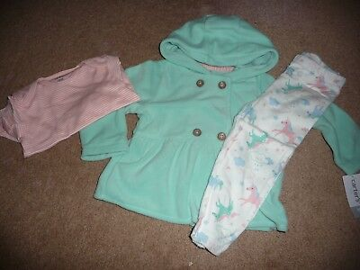 NEW NWT Carters girls size 18 months 3 piece fleece jacket unicorn outfit set