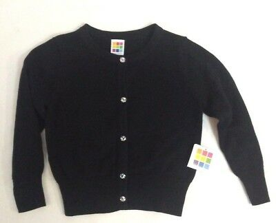 Healthtex Toddler Girls Black Button-up Sweater Cardigan NWT 3T,5T Faux Diamond