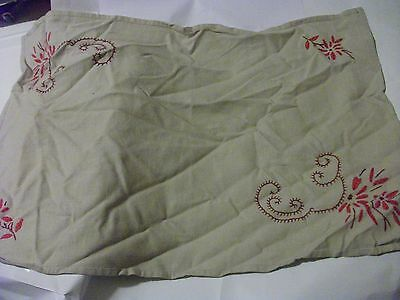 PRETTY VINTAGE LINEN HAND EMBROIDERED Pale brown TRAY CLOTH? 22 1/2'' x 14 3/4''