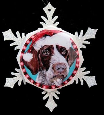 German Wire Haired Pointer Original Art Christmas Ornament