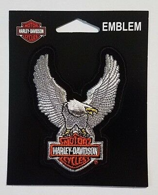 """Patch embroidered sew on, Harley-Davidson,Eagle Upwing Silver, 4"""""""