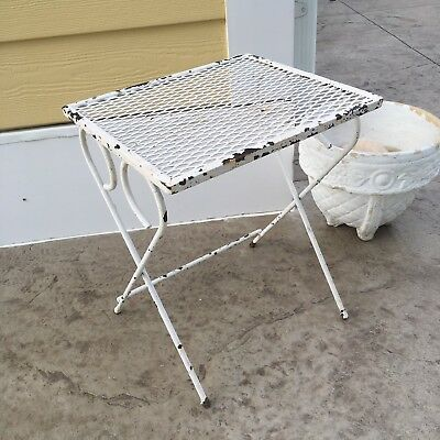 Vtg Antique Shabby White Distressed Wrought Iron Wire Mesh Patio End Table