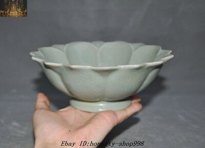 """7"""" Old Chinese Dynasty Longquan Kiln Porcelain glaze Lotus Bowl Cup Bowls Statue"""