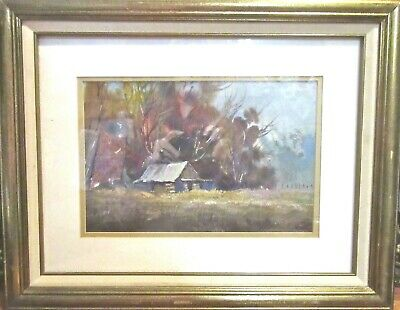 Beautiful Framed Original Water Color/Gouache Painting, Rural/Farm Country Scene
