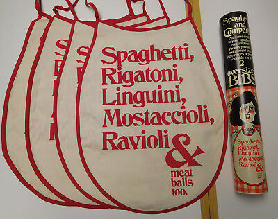 Vintage 1978 Crackers Inc Tube Spaghetti Pasta Fabric Bibs Tulino Design Unused