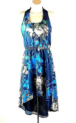 Maeve Anthropologie Blue Floral Print High-Low Dress