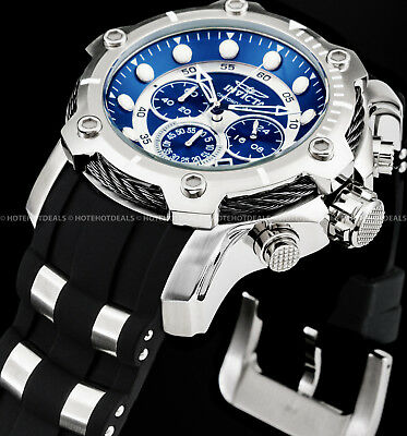 Invicta Men's 51mm BOLT Chronograph Blue Dial Silver Stainless Steel PU Watch !