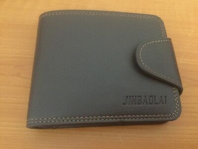 Mens Brown Leather Trifold Wallet Card Holder Coin Purse