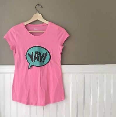 Justice Girls Size 12 Pink Teal LOL YAY Flip Sequin Shirt
