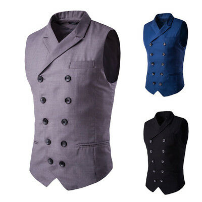 Mens Business Suit Vest Formal Wedding Slim Fit Double-breasted Waistcoat Tops